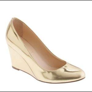 J. Crew metallic gold wedge heel size 9
